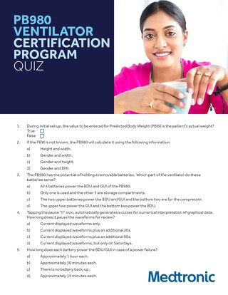 PB980 VENTILATOR CERTIFICATION PROGRAM QUIZ