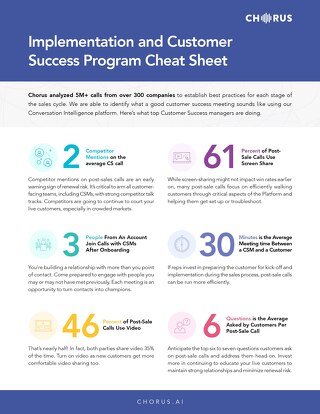 Implementation & Customer Success Cheatsheet