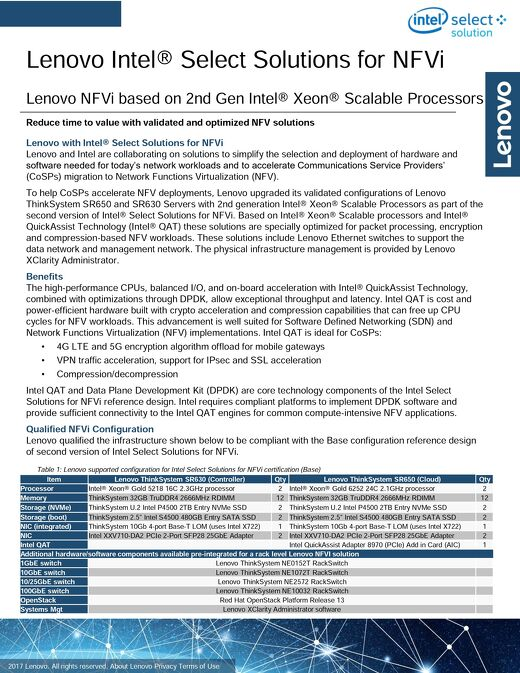 Lenovo Intel® Select Solutions for NFVi