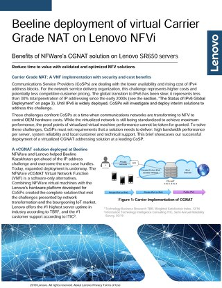 Beeline deployment of virtual Carrier Grade NAT on Lenovo NFVi