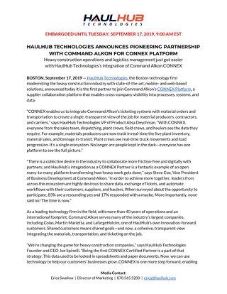 HaulHub - CONNEX Partnership Press Release - September 17, 2019