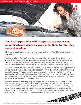 Principled Technologies Report: Dell SupportAssist predictive technology