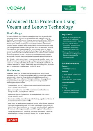 Advanced Data Protection Using Veeam and Lenovo Technology