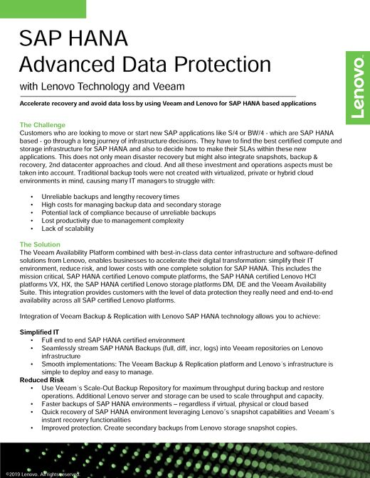 SAP HANA Advanced Data Protection with Lenovo and Veeam