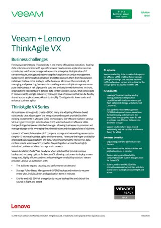 Veeam + Lenovo ThinkAgile VX