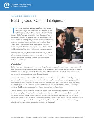 Building Cross-Cultural Intelligence