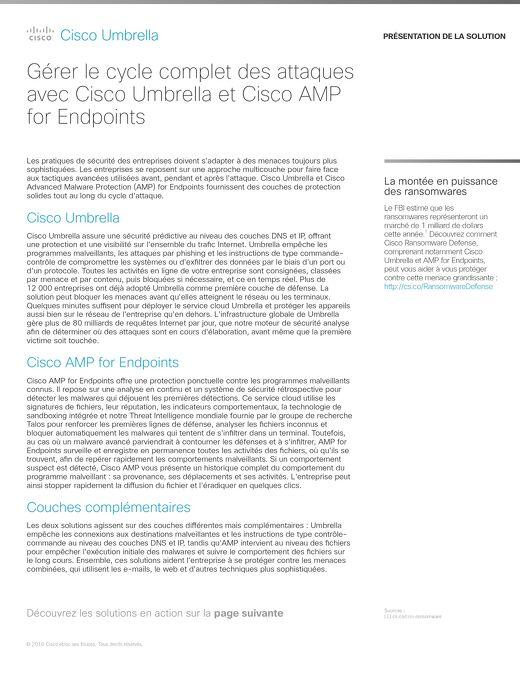 Gérer le cycle complet des attaques avec Cisco Umbrella et Cisco AMP for Endpoints