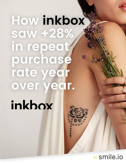 How inkbox saw over +28% in repeat purchase rate year over year.