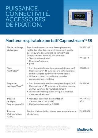 PUISSANCE. CONNECTIVITÉ. ACCESSOIRES DE FIXATION. Moniteur respiratoire portatif Capnostream 35