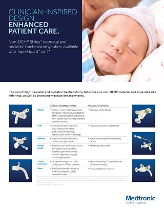 Non-DEHP Shiley™ neonatal and pediatric tracheostomy tubes, available with TaperGuard™ cuff