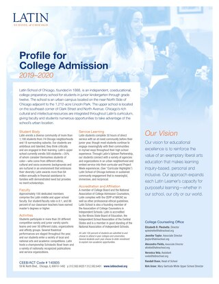 Latin School Profile for College Admission 2019