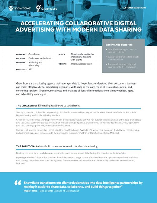 Greenhouse: Accelerating Collaborative Digital Advertising with Modern Data Sharing
