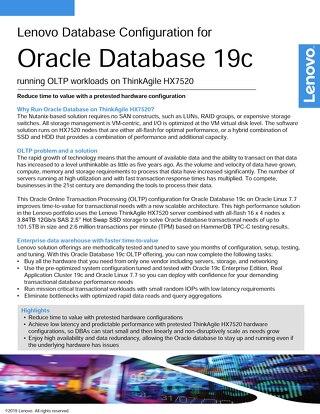 Lenovo Database Configuration for Oracle Database 19c