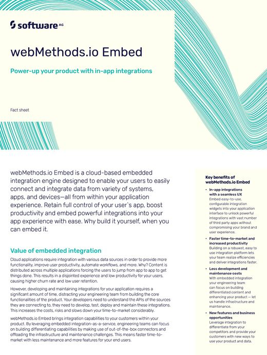 webMethods.io Embed Power-up your product with in-app integrations
