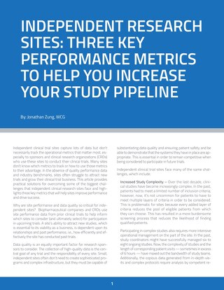 Three Key Performance Metrics for Independent Sites