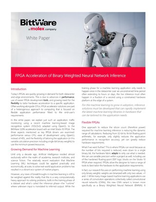 FPGA Acceleration of Binary Weighted Neural Network Inference