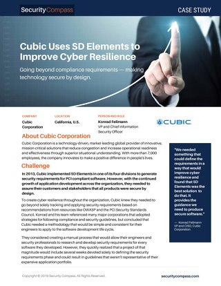 Cubic Uses SD Elements to Improve Cyber Resilience