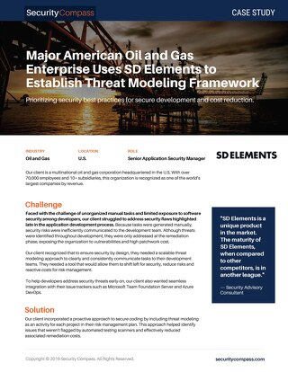 Major American Oil and Gas Enterprise Uses SD Elements to Establish Threat Modeling Framework