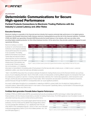 Deterministic Communications for Secure High-speed Performance