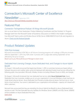 Connections Microsoft Center of Excellence Newsletter - September 2019