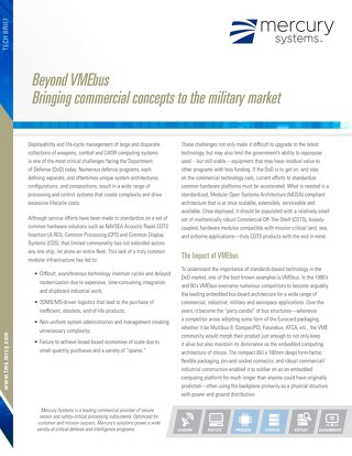 Beyond VMEbus - Brining commercial concepts to the military market