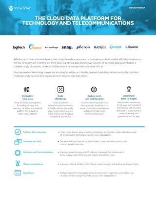 The Cloud Data Platform for Technology and Telecommunications
