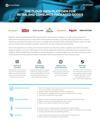 The Cloud Data Platform for Retail and Consumer Packaged Goods