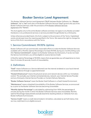 Booker Service Level Agreement