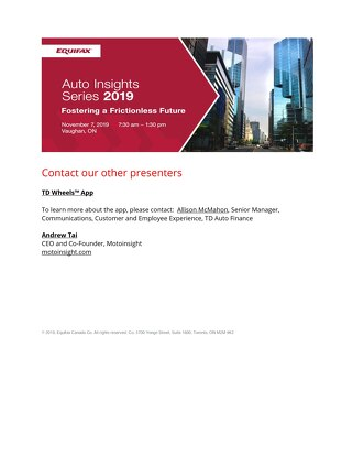 Equifax Auto Insights: Contact other presenters