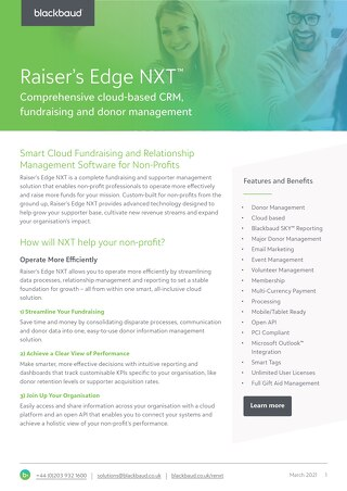 Raiser's Edge NXT Datasheet 2020