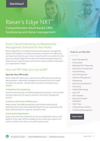 Raiser's Edge NXT Datasheet 2021