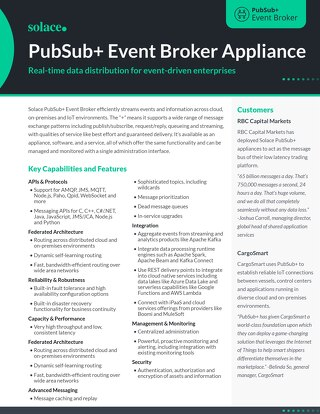 PubSub+ Event Broker Appliance Datasheet