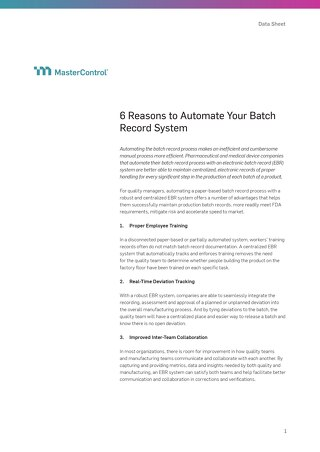 6 Reasons to Automate Your Batch Record System