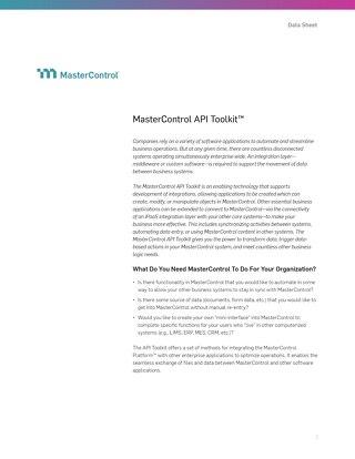 MasterControl API Toolkit™