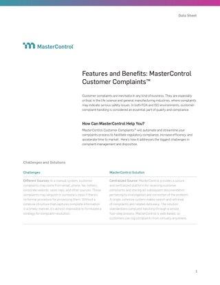 MasterControl Customer Complaints™
