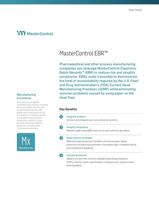 MasterControl Electronic Batch Records™ (EBR)