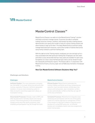 MasterControl Classes™