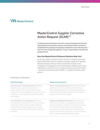 MasterControl Supplier Corrective Action (SCAR)™