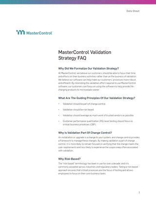 MasterControl Validation Strategy FAQ
