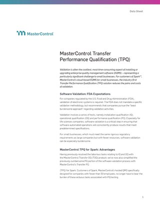 MasterControl Transfer Performance Qualification (TPQ)