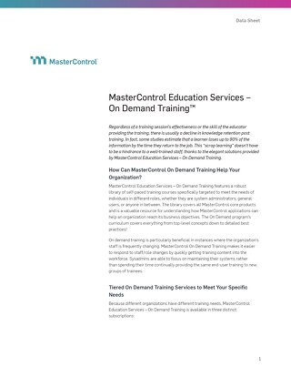 MasterControl Education Services – On Demand Training™
