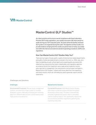 MasterControl GLP Studies™