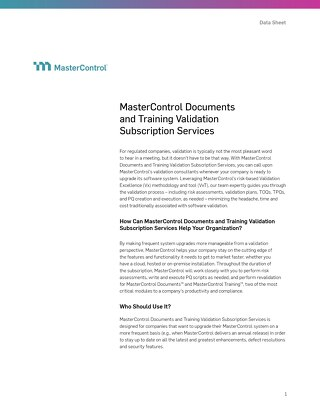 MasterControl Documents and Training Validation Subscription Services