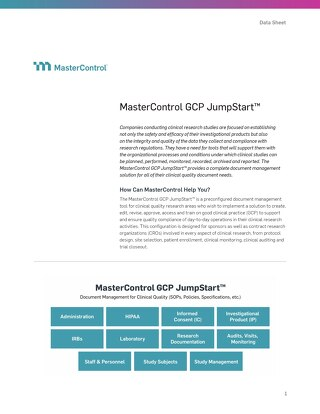 MasterControl Clinical Quality (GCP) JumpStart