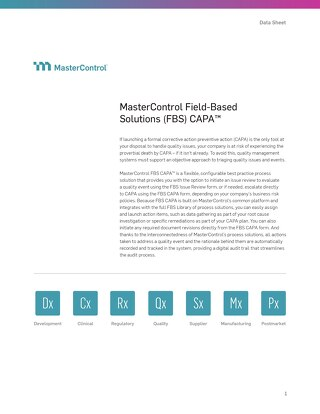 MasterControl Field-Based Solutions (FBS) CAPA™