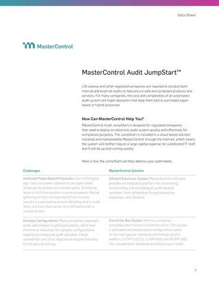 MasterControl Audit JumpStart™