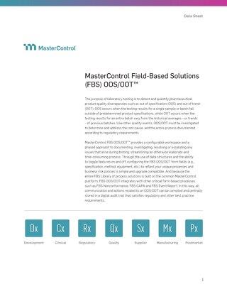 MasterControl Field-Based Solutions (FBS) OOS/OOT™
