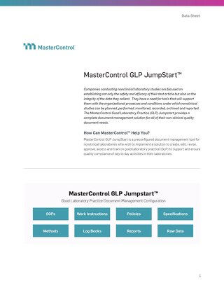 MasterControl GLP JumpStart™