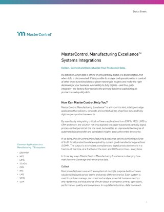 MasterControl Manufacturing Excellence™ Systems Integrations