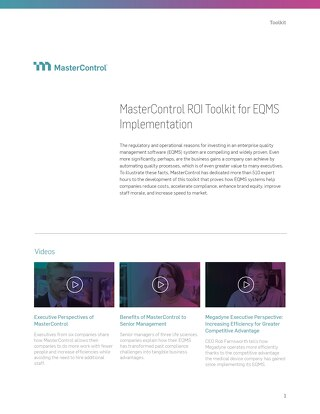 MasterControl ROI Toolkit for EQMS Implementation